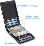 Carbon Mens Wallets slim Front Pocket RFID Blocking Card Holder Minimalist Mini Bifold Gift Box TRAVANDO Money Clip WalletRIO