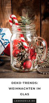 Schnell und einfach zaubern Sie eine Weihnachtsdekoration mit einem Einmachglas oder …   – ℒ Weihnachten