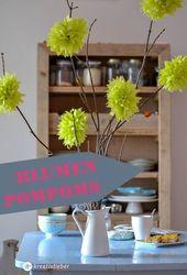 Pompons fleurs bricolage   – basteln