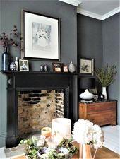 Dark grey walls, victorian terrace lounge