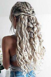 ädchen mit blondierten, fast weißen Haaren, Flechtfrisur mit vielen Zöpfen, Z… – Haarfrisuren