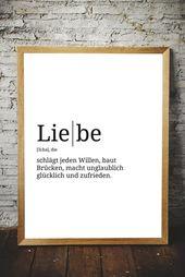 Premium Spruch-Poster | Definition: Liebe | Verschönere Deinen Wohnraum – Format wählbar