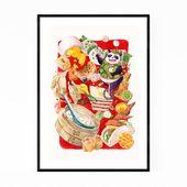 Panda Wall Art, Panda Print, Dim Sum Art, Dim Sum Print, Animal Wall Art, Animal Prints, Animal Post