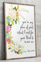 Bible Verse Art Floral Christian Wall Decor Scripture Wall Art Calligraphy Quote Printable Verses Christian Decor Nursery Bible Verse Bd 378 Bible Verse Art Scripture Wall Art Verse Art