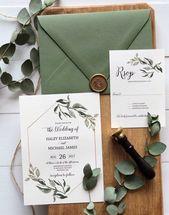Rustikale botanische Hochzeits-Einladung, Grün – Liebe des Herstellens von Design Co