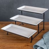 Better Homes And Gardens Porcelain 3 Tiered Rectangular Server W Metal Rack Better Homes And Gardens Home