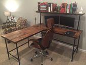 Rustikale Altholz L Schreibtisch Tisch – Massive Eiche W / 28 Black Iron Pipe Beine –  #altho…