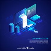 Isometric payment system background Free Vector