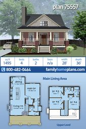 Affordable Compact 4 Bedroom Home Plan #75557 has Four Beds, 2 Full Baths and a Covered Porch