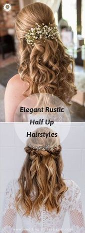 100 Enchanted Rustic Wedding Hairstyles—half up half down hairdos for long hair with natural curls and floral headpieces elegant wedding themes. 10