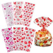 Valentine Cellophane Bags,115 Pack with Twist Ties,Valentine Gift Bags for Kids-Perfect Valentines Treat Bags,Valentines Gift Bags,6 Assorted Styles