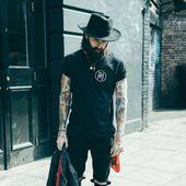 Ricki Hall - full thick dark beard mustache beards bearded man men mens' style street summer clothing fashion tattoos tattooed hats bearding #beardsfo...