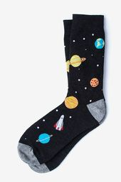 Black Space Sock | Planets and Stars Men's Sock