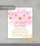 Baby Showers Twinkle Twinkle twinkle Little Star gold, girl Baby Shower, Late night diapers sign, pri...