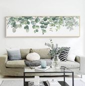 Eucalyptus print above couch – #abovecouch #couch …