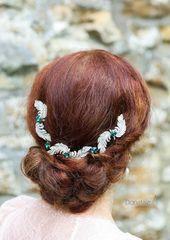 Art deco Emerald Green Hair Chain 1920s Bridal Head chain Crystal Leaf Hair vine Back headpiece Wedding Hair Chain Wedding Hair Accessory