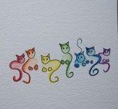 Kritzelnde Katzen … Bunte Katzen zeichnen … – DIY – Bemalte Steine, Kreati… #diytattooimages