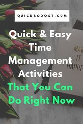 Easy Time Management Activities That You Can Do Right Now