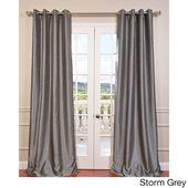 Exclusive Fabrics Textured Dupioni Faux Silk Grommet 84-inch Blackout Grommet Curtain Panel – 50 x 84