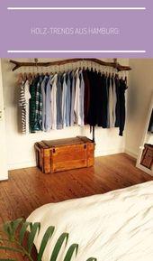 Holz-Trends aus Hamburg: Hängende Kleiderstange, Truhe, Regalbrett, Dielen aus … – dorm-room-organization-makeup
