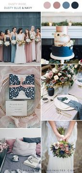 dusty rose, dusty blue and navy wedding color ideas #blue #colour ideas