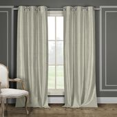 Duck River Daenerys 38 in. x 96 in. L Polyester Faux Silk Curtain Panel in Taupe (2-Pack)-DAEN 13794=12