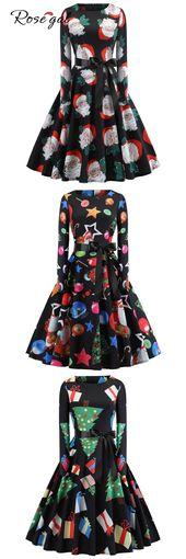 Hepburn Vintage Series Women Dress Spring And Summer Round Neck Christmas Printing Design Long Sleev 1
