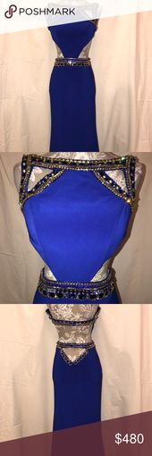 Sherri Hill Gown Beautiful royal blue down with blue and gold jewels and cut out… – My Posh Picks