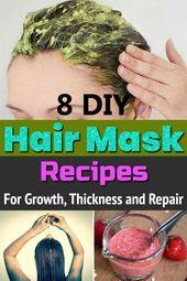 8 DIY Hair Mask Recipes for Growth, Thickness and Repair #Dick #DIY # for #Hair #Mask #Repa …