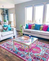 Über 80 atemberaubende farbenfrohe Wohnzimmer-Dekorationsideen und Umgestaltungen für das Sommerprojekt
