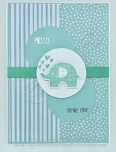Baby Cards Little Elephant baby card in Pool Party  #stampinup #littleelephant #baby #babyc...