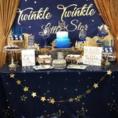 Baby Showers Twinkle Yes! The tablecloth twinkled 😍 ⭐️Twinkle Twinkle Little Star Baby Shower ...