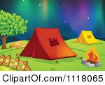Vector Clipart Of A Camping Tents Pitched By A Fire In Hills Under Northern Ligh…