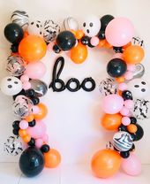 Halloween Balloon Garland, Halloween Latex Balloons, Halloween Balloons, Halloween Kid Parties, Halloween Balloon Arch, Ghost Balloons