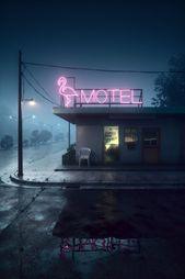 Motel On Foggy Night, Akihiko Kamiya auf ArtStation unter www.artstation.co – #Akihiko #ArtStation #auf #Foggy