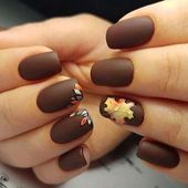 Einfache Short Fall Nail Color Ideas – Erntedankfest-Nägel – Matte Brown Nails -… – Nägel ideen