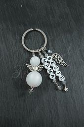 Schlüsselanhänger – Schutzengel Schlüssel Anhänger ♥ Beste Mama ♥Weiß  – ein Designerstück von Kreativ-Engel bei DaWanda