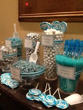 Aqua and Silver Candy Table