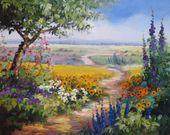 Ein Blick aus vom Garten aus in die Landschaft … durch Rittersporn, Margeritten und Malven führt ein Weg, der die Augen wandern läßt… |Ölgemä… – Jim Mead