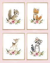 Floral Wald Print Set 4, Blume, Kindergarten Kunst, Kinderzimmer Dekor, Wand-Kunst für Kinder, Kindergarten Kunst, Eichhörnchen, Fuchs, Reh, Raccoo, Tier Malerei
