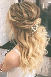 42 Gorgeous Wedding Hairstyles Ideas to Inspire Your Wedding Day--- Up half up down wedding hairstyles with accessories and bump
