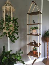 Wood Hanging Shelf Boho Decor Plant Shelf – Vintage 70s Mid Century Plant Hanger 5 Tiered Shelf Disp