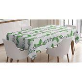 East Urban Home Ambesonne Leaf Tischdecke, Blüten der romantischen Frühlingsblumen von Bird Cherry Tree mit grünen wirbelnden Kräutern, rechteckige Tischdecke   – Products