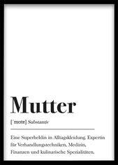 Mutter Definition, Geschenk für Mama, Weihnachtsgeschenk DIN A4 Druck Plakat Wörterbuch, Poster mit Text, Skandinavisch Schwarz Weiß