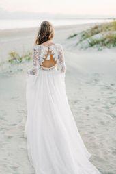 Long Sleeve bohemian wedding dress, boho wedding dress, lace wedding dress, backless wedding dress, open back wedding dress, chiffon dress