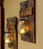 Rustikale Wohnkultur, rustikale Kerzen, Licht, Wohnen und Leben, Einmachglasdekor, Bauernhausdekor, Holzdekor, Kerzenhalter zu je 1 Preis – home