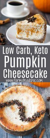 Keto Cheesecake à la citrouille, faible teneur en glucides, sans sucre ajouté
