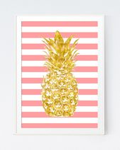 Pineapple Gold Pink Print Coral Stripes Background, Printable Digital Poster, Coral Stripes and Gold Pineapple Wall Print, INSTANT DOWNLOAD