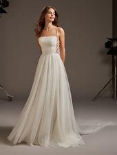 Tulle Spaghetti Strap A-line Wedding Dress   Kleinfeld Bridal