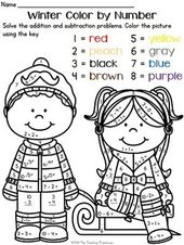 Winter Color By Number Addition Subtraction Within 10 Coloring Worksheets For Kindergarten Addition And Subtraction Math Coloring